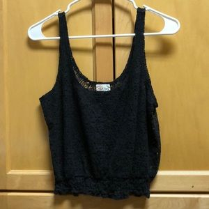 Black cropped see through laced tank top